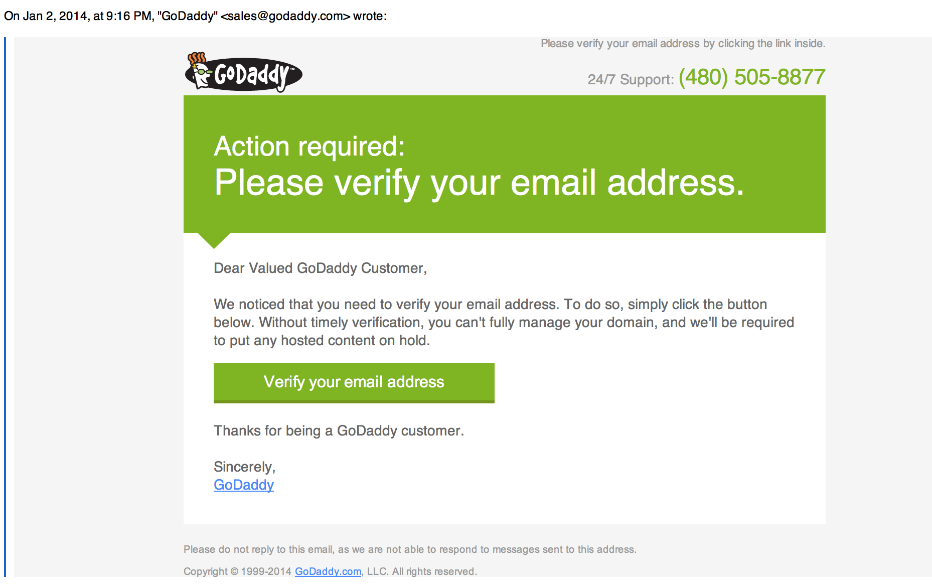 godaddy customer support phone number