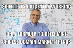scientist search for formula to Chinese domain buying trends