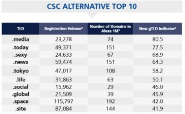 CSC's January New gTLD Utilization Report; .Global Enters the 'Alternative Top 10' List